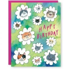 Cat Flowers Card
